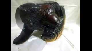 木彫りの熊アンティーク民芸品鮭をくわえた熊木製置物美品