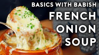 "Head to http://bit.ly/squarespacebabish to save 10% off your first purchase of a website or domain using code BABISH.  French onion soup can be a little fussy, time-consuming, and tear-inducing, but if you've got a few hours on a rainy Saturday, there are few better ways to spend it than in the pursuit of this classic, comforting gratineé.  Music: ""Murmuration"" by Blue Wednesday  Shopping List: 3lb bag Spanish onions 48 ounces high-quality beef broth Fresh parsley Fresh thyme Fresh garlic Black peppercorns Cloves (optional) Parmesan cheese rind (optional) Olive oil Dry sherry Day-old baguette Kosher Salt Gruyere cheese Chives"