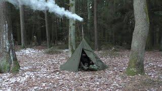 Übernachtung im Winter mit Zeltofen im Lavvu