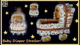Diy Baby Diaper Stroller | Baby Stroller Cake | Baby Shower Gift Stroller!