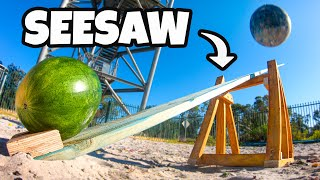 WRECKING BALL Vs. SEESAW from 45m! How High Will the Watermelon Go?