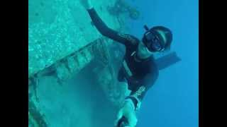 Girl who freedives visits a Plane wreck in Boracay