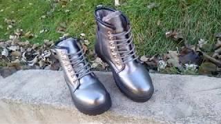"""Ботинки серебристые женские теплые ботинки ЗИМА 36р-41р от компании Интернет-магазин """"ZrazOK"""" - видео"""