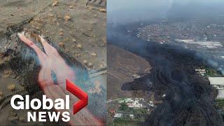 Wulkan La Palma: film z drona pokaz.uje lawę wypływającą z nowego otworu wentylacyjnego, popiół pada z krateru