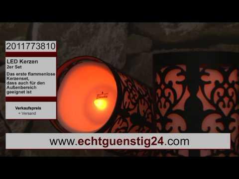 Sehr große LED Kerzen mit Laternen für den Garten und Balkon 2er Set