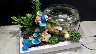 DIY Aquarium with Hot glue waterfall