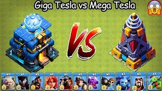 Giga Tesla vs Mega Tesla Clash of  Clans Ultimate | Max Giga Tesla vs Max Mega Tesla COC