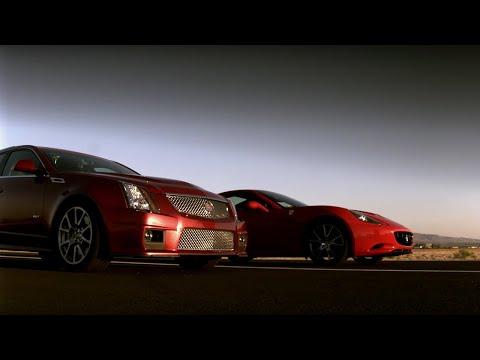 Drag Race! Cadillac CTSV Vs Ferrari | Top Gear USA