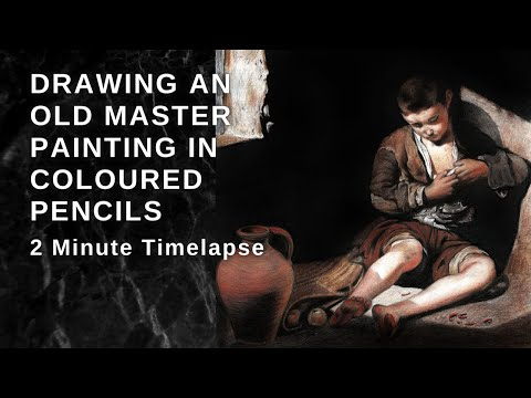 Thumbnail of Drawing an Old Master Painting in Coloured Pencils - 2 Minute timelapse