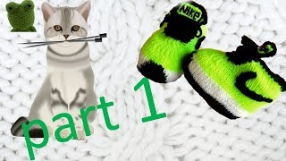 Knitting.  Baby Slippers. Running Shoes For Kids. Part 1