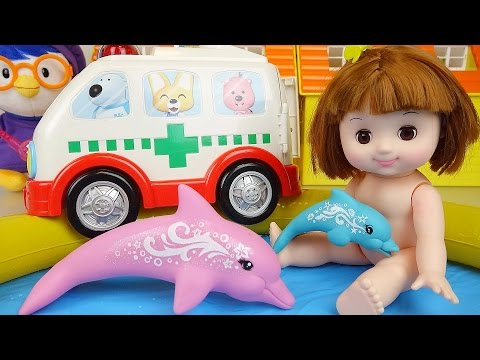 Baby Doll pool and Nancy Dolphin Rescue toys play