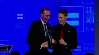 Dustin Lance Black receives the HRC Visibility Award