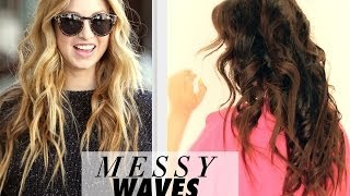 ★ MESSY BEACH WAVES CURLS TUTORIAL | LONG HAIRSTYLES | HOW TO CURL YOUR HAIR WITH A STRAIGHTENER
