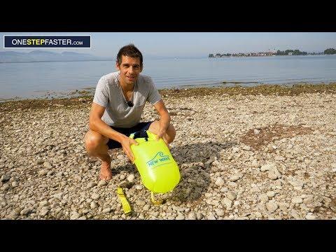 Schwimmsack  und aufblasbare Boje fürs Schwimmen im See und Freiwasser