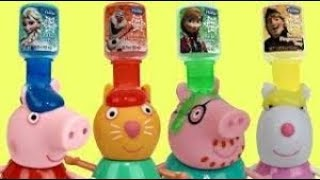 Peppa Pig Family Finger Bath Painting Colors and Bubble Bath Time!