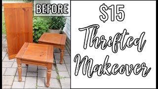 THRIFTED FURNITURE MAKEOVER | COFFEE TABLE & TWO END TABLES | $15 PROJECT!!!
