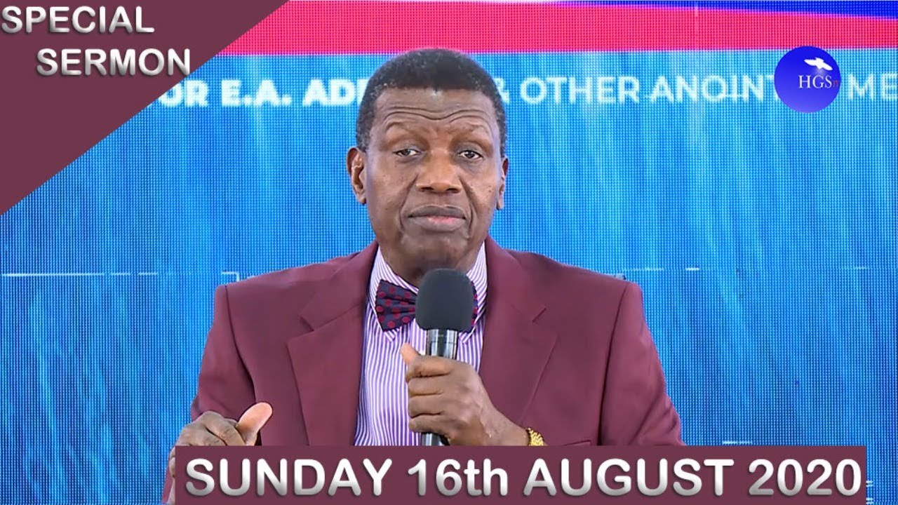 RCCG Sunday Service 16th August 2020 by Pastor E. A. Adeboye - Livestream