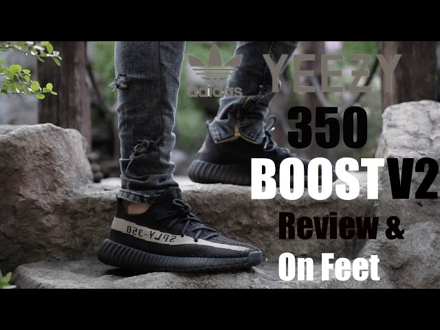 50515ce60315cb Video adidas Yeezy 350 Boost v2 Black  Green Review   On Feet