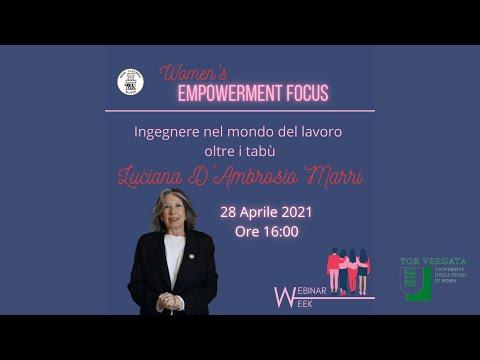 Intervento di Luciana d'Ambrosio Marri – Ingegnere nel mondo del lavoro oltre i tabù – Women's Empowerment Focus – A.L.I.T.U.R. – 28.4.2021