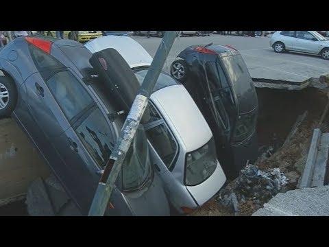 Καθίζηση της ασφάλτου σε υπαίθριο παρκινγκ στην Καλλιθέα