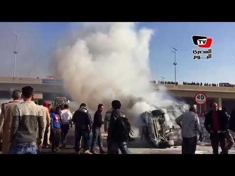 تفحم سيارة على طريق «شبرا - بنها» الحر