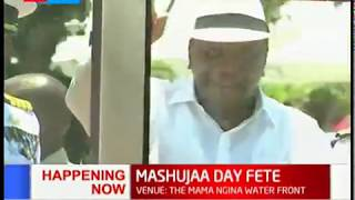 President Uhuru arrives for the Mashujaa Day celebrations in Mombasa