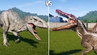 Jurassic World Evolution - INDOMINUS REX vs SPINOSAURUS -  Gameplay (PS4 HD) [1080p60FPS]
