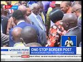 Uhuru Kenyatta and his Ugandan counterpart  Museveni today launched the Busia one stop border post