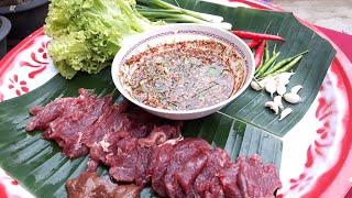 จุ๊เนื้อวัวสดๆหวานลิ้น แซ่บถึงใจ แจ่วดีขมปิ๊ด เผ็ดออกหู Eat fresh beef # BYหนอนปอ.TG