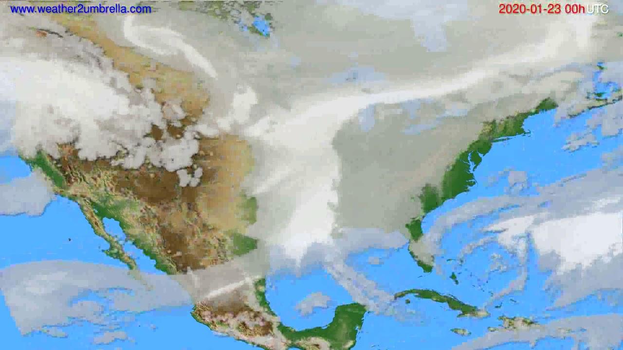 Cloud forecast USA & Canada // modelrun: 00h UTC 2020-01-22