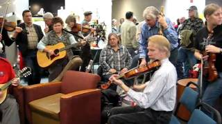 Arvid Lundin, fiddler, and other musicians jamming at the Spokane Folk Festival, 2010