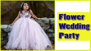 Pink And Grey Flower Girl Tutu Dress Wedding Party And Birthday Party