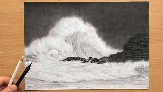 Crashing Waves - Seascape Charcoal Drawing