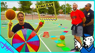 Challenging a POLICE OFFICER to GIANT Basketball BOARD GAME!