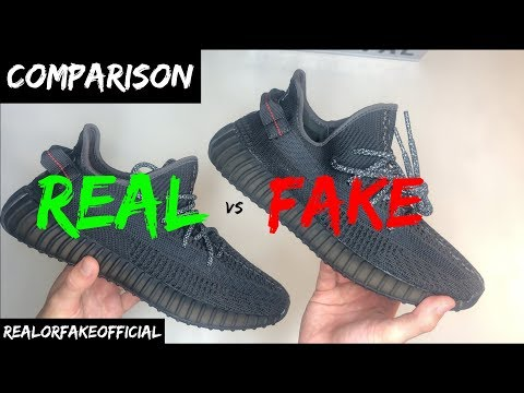 ADIDAS YEEZY 350 BOOST V2 BLACK STATIC COMPARISON REAL VS FAKE
