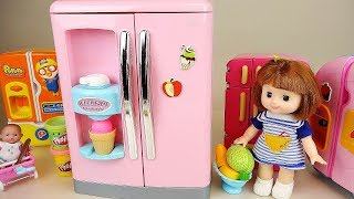 Baby doll big refrigerator and play doh food toys baby Doli play