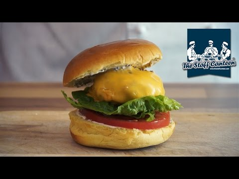 Pork and mushroom burger recipe with mustard mayonnaise and Kerrymaid original slice