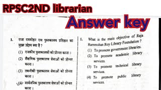 Rpsc 2nd Grade Librarian #answer Key Today Paper