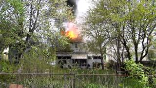 preview picture of video 'House fire Grosse Pointe Park, Michigan Rear View'