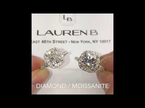 Diamond vs Moissanite Cushion Cut Halo Engagement Rings