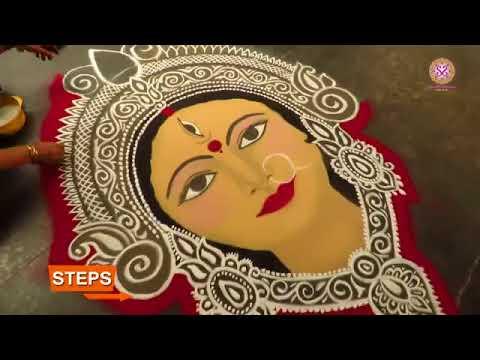 portrait rangoli design goddess by shanthi sridharan