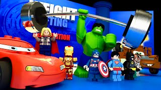 WEIGHT LIFTING Competition 🏋️♂️ LEGO CARS Team Avengers Justice League Animation 💪 LEGO Cartoon