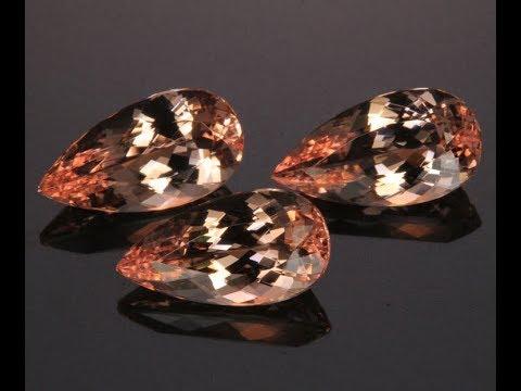 Fine Peach Morganite 3=14.84 Carats