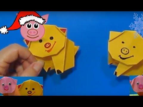 ХРЮШКИ Из Бумаги / Без Клея / Новогоднее Оригами 2019 Своими Руками / Поделки с Детьми!