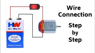 How to Connect a DC Motor to 9V Battery with On/Off Switch - Very Easy