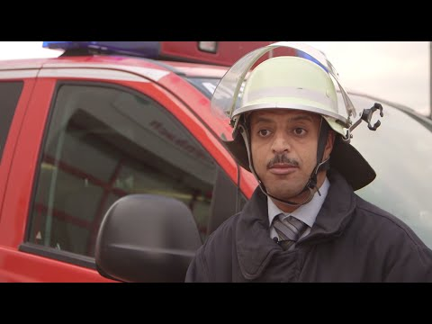Even though he has a full time job, Mohamad Eyad Albandakyi volunteers at the local fire brigades