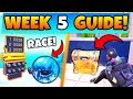 Fortnite WEEK 5 CHALLENGES! - Race Track In Happy Hamlet, Chests (Battle Royale Season 8 Guide)
