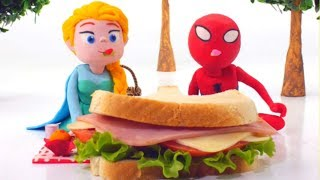FROZEN ELSA & SPIDERMAN EAT REAL SANDWICH  ❤ Spiderman, Hulk & Frozen Play Doh Cartoons For Kids | Kholo.pk