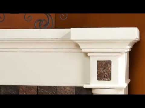 Video for Carrington Ivory Faux Slate Convertible Electric Fireplace