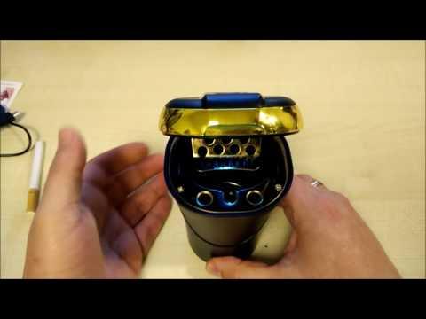 Aschenbecher mit Anzünderfunktion, LED Beleuchtung, Akku Betrieb inkl. USB Ladekabel